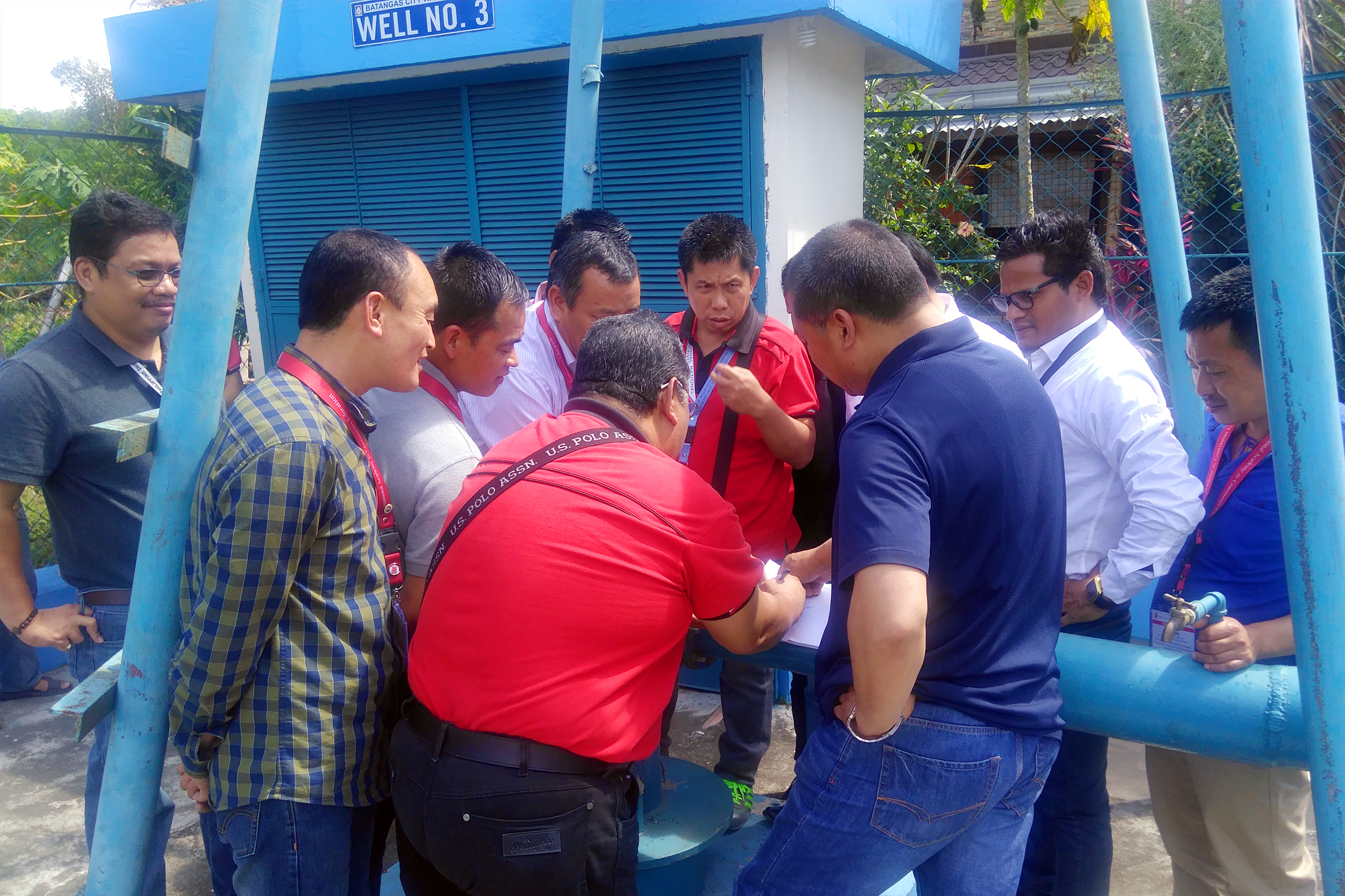 Engr. Bernardo Hornilla guide the Mongar District delegates in visting wells of Batangas City Water District