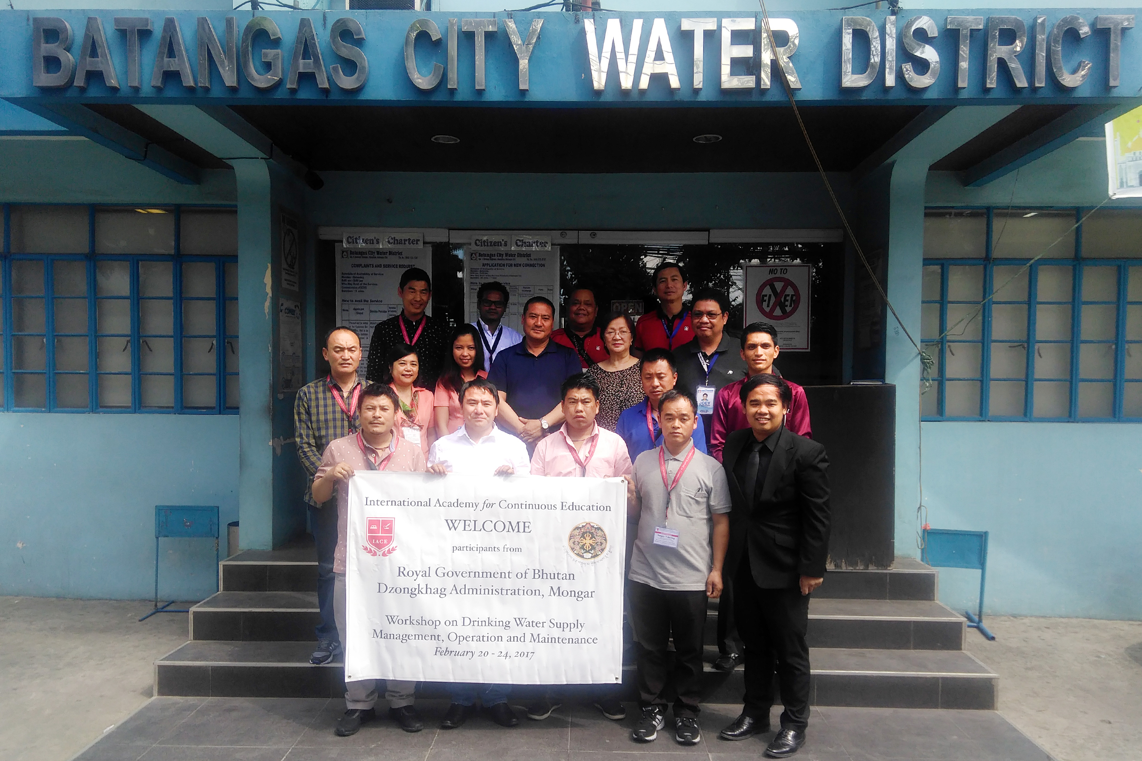 Mongar District Delegates together with Batangas Water District Management and officials. Picture taken in front of their office.